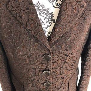 MaxMara | Brown Floral Jacquard Blazer